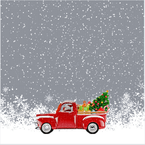 Red Pickup Truck Carrying A Christmas Tree Frame