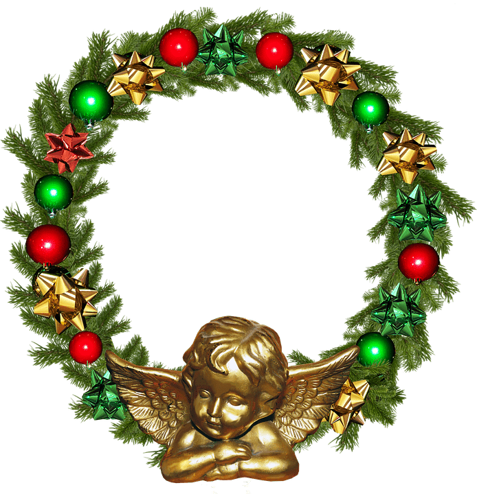 Christmas Angel Wreath Profile Frame