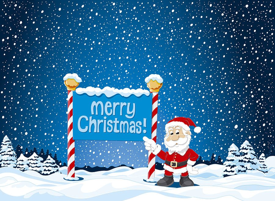 Merry Christmas Profile Frame With Santa Claus