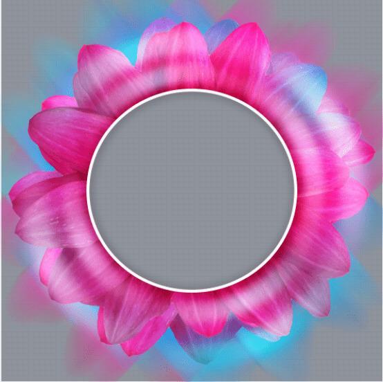 pink flower profile frame